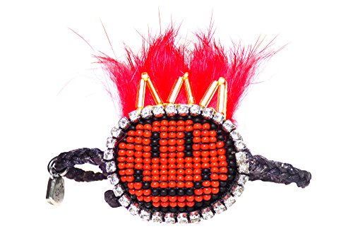 Ayounik Adjustable Handmade Beaded Smiley Face Bracelet (Red)