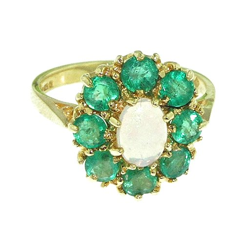 LetsBuyGold 18k Yellow Gold Real Genuine Opal and Emerald Womens Cluster Ring - Size 11 (Emerald Cluster Ring Setting)