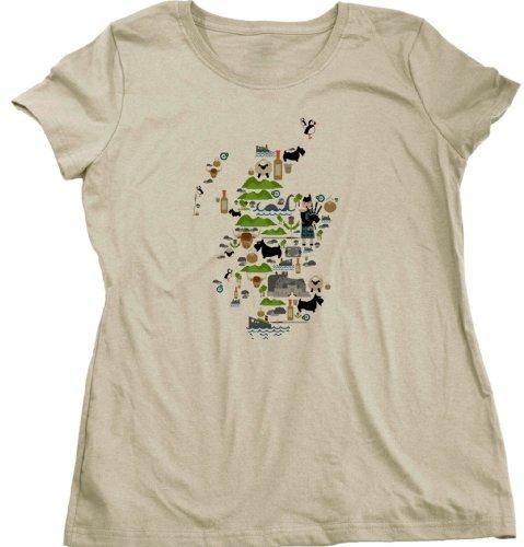 Scottish Iconography Map Ladies Cut T-shirt Scottish, Highland, Celtic, Gaelic Pride