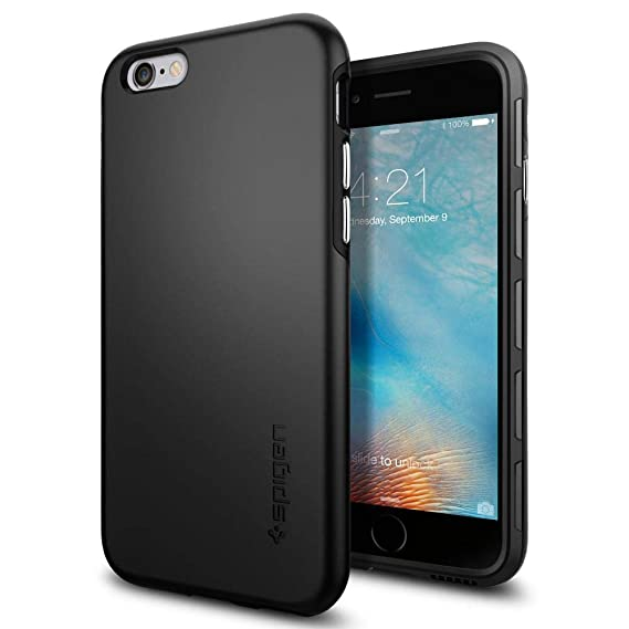 size 40 767f8 39a14 Spigen Thin Fit Hybrid iPhone 6S Case with Premium SF Coated Non Slip Matte  Surface for Excellent Grip and QNMP Compatible for iPhone 6S 2015 - Black
