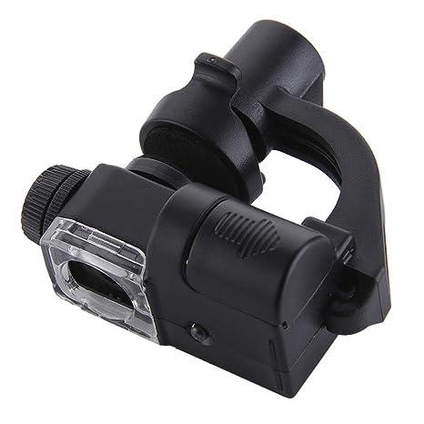 GEZICHTA Protable 90X Soporte para teléfono móvil Tipo Microscopio LED, Lupa de Vidrio para teléfono