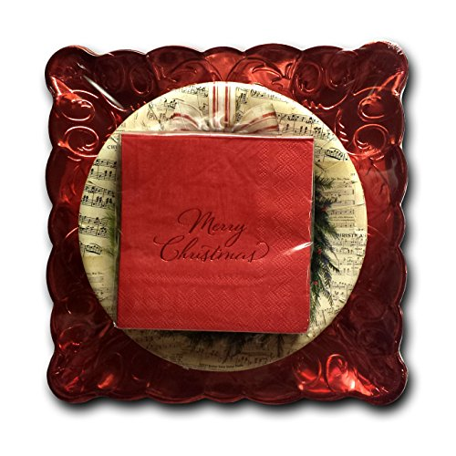 - Christmas New Years Holiday Deluxe Winter Party Paper Dinnerware Bundle - 3 Items: Dinner Plates, Dessert Plates, Napkins Service for 20 (Wreath Deluxe)