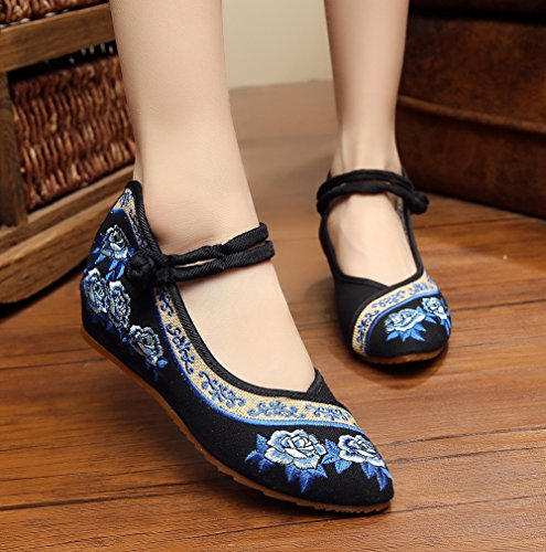 Zapatos De Cuña Para Mujer Avacostume Rose Bordado Point Toe Para Qipao Dress Black
