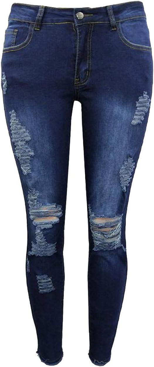 GUOCU Donna Strappati Skinny Jeans Vita Bassa Elasticit/à Distrutto Boyfriend Collant Push Up Pantaloni