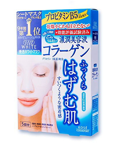 Kose Cosmeport Clear Turn Face Mask White Collagen 5 Sheets Kose Face Care