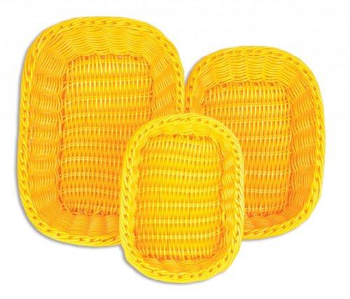 (Colorbasket 51401-207 Hand Woven Waterproof Rectangular Food Basket, BPA Free, Sunshine Yellow, Gift Box, Set of 3)