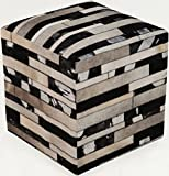 Surya Animal Inspirations Square pouf/ottoman 18''x18''x18'' in Black, Brown Color From Surya Poufs Collection
