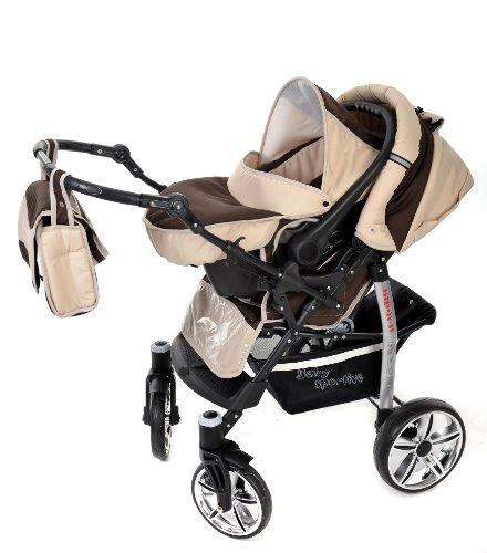 baby sportive landau pour bb avec roues pivotables sige auto poussette systme 3en1 incluant sac langer et protection pluie et moustique