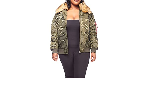 6ee55fdc5 GENx Womens Plus Size Winter Faux Fur Puffer Bomber Parka Jacket RJK ...