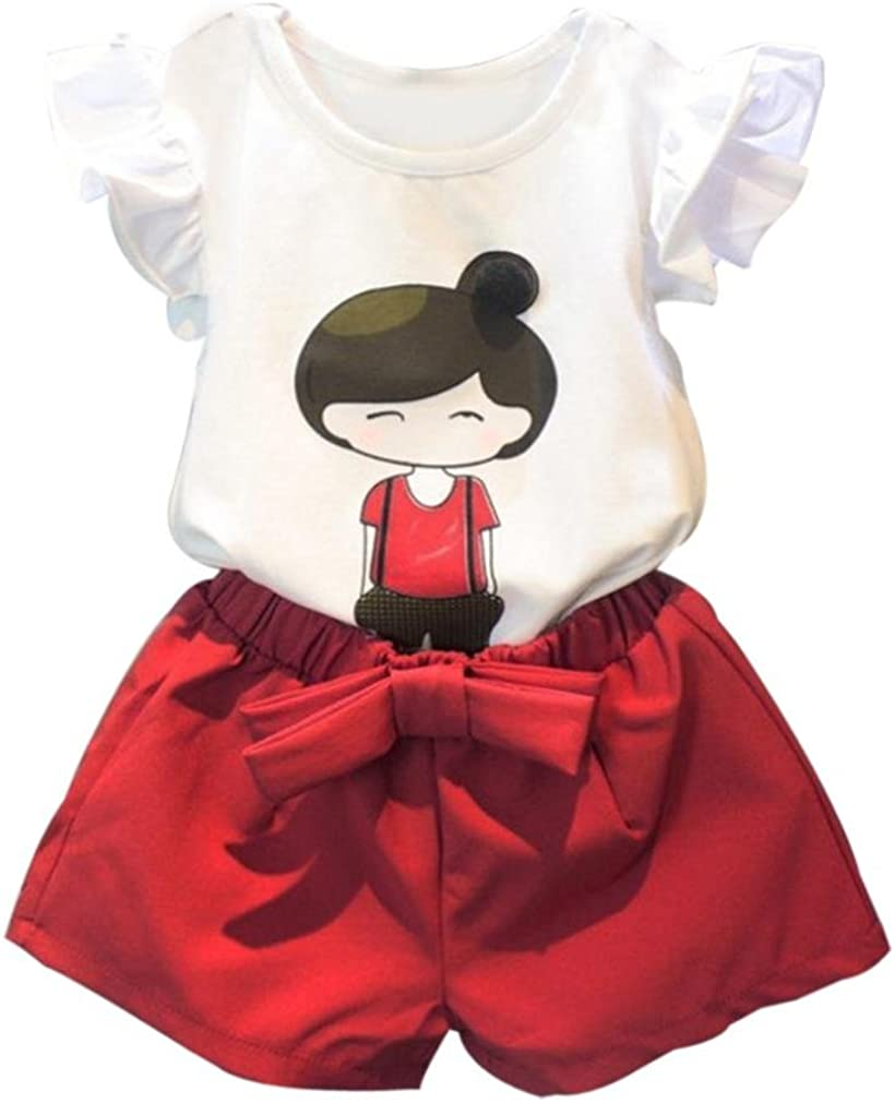 Koly/_Cute Baby Ragazza dei Capretti Manica Corta Top T-Shirt Shorts Pants Outfits Set Casual
