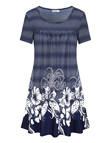 Short Sleeve Shirts for Women,Ladies Short Sleeve Scoop Neck Elegant Floral Printed Tunic Loose Fitting Pleated Jersey Tops RBU - Breezy Printed Tunic