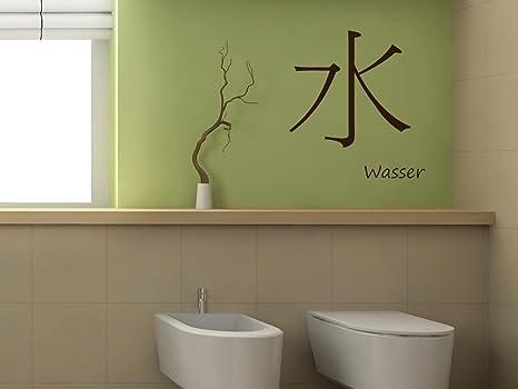 Adesivo da parete bagno wc simbolo cinese segno di acqua