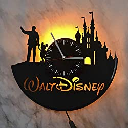 Walt Disney Cinderella Castle Yellow Led Light Vinyl Record Wall Clock - Get Unique Bedroom or livingroom Wall Decor - Gift Ideas for Boys and Girls Perfect Element of The Interior Unique Modern Art