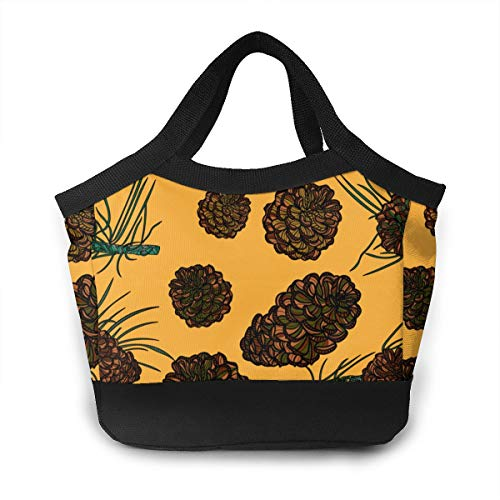 Pinecones Art Pattern Lunch Tote Bag Insulated Lunch Bag Waterproof Reusable Lunch Holder Cooler Bag For Women Man Adults