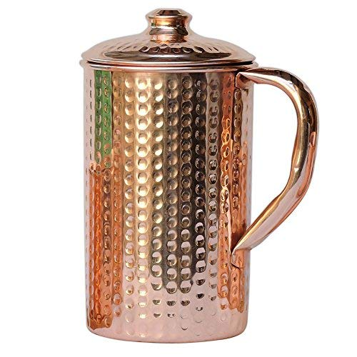 HealthGoodsIn - Pure Copper (99.74%) Hammered Water Jug | Copper Pitcher for Ayurveda Health Benefits (50.7 US Fluid Ounce) (With Lids Jugs Drinking)