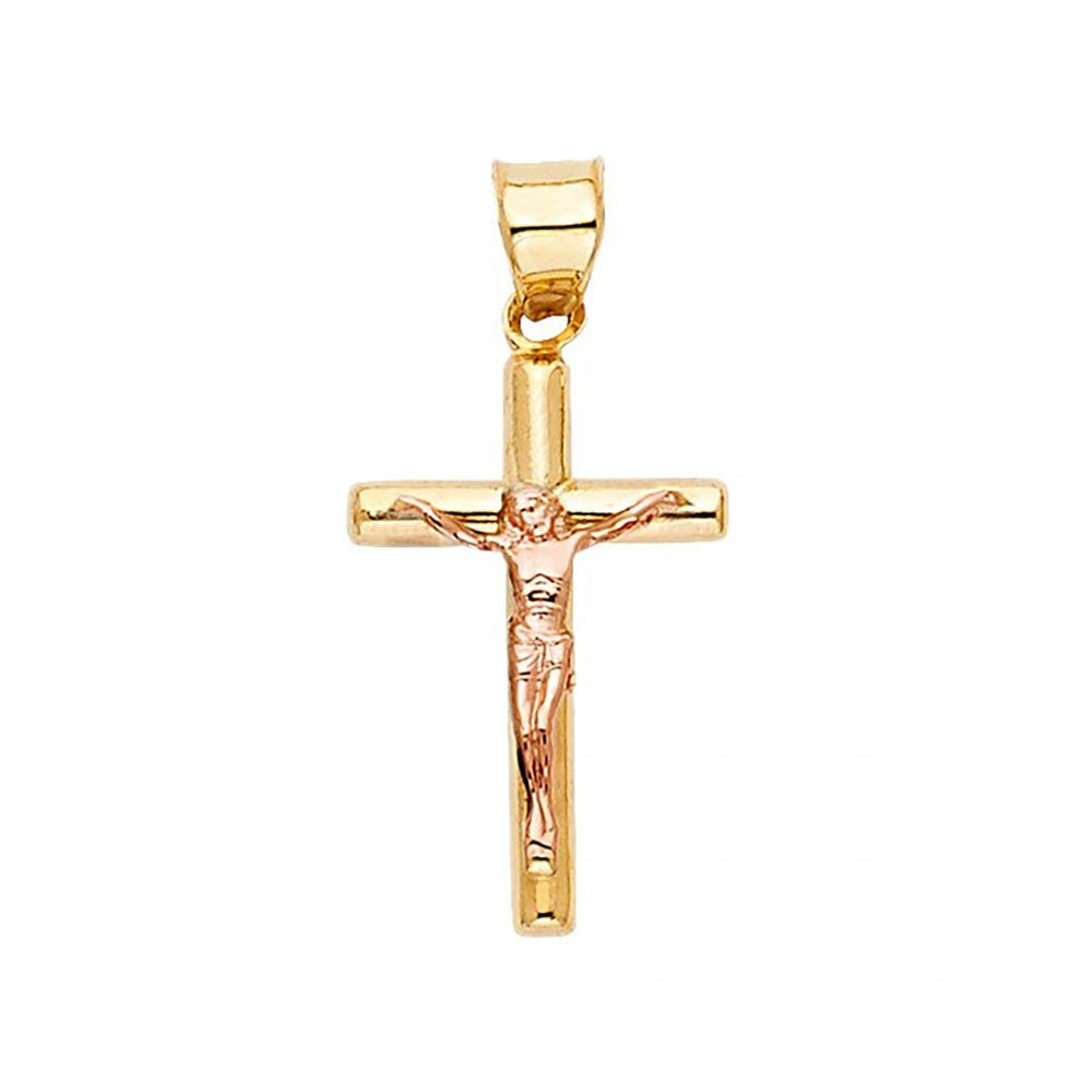 American Set Co 14k Two Tone Gold Religious Crucifix Pendant Charm