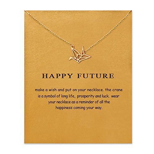 QXFQJT Friendship Paper Crane Necklace with Message Card