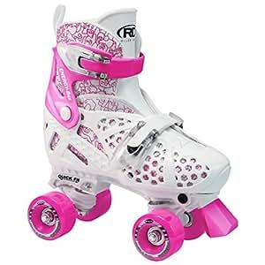 Roller Derby Girl's Trac Star Adjustable Roller Skate, White/Pink, Medium 12-2