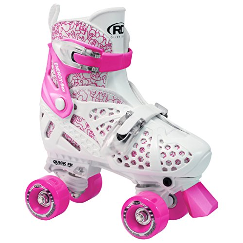 Roller Derby Girl's Trac Star Adjustable Roller Skate, White/Pink, Large 3-6