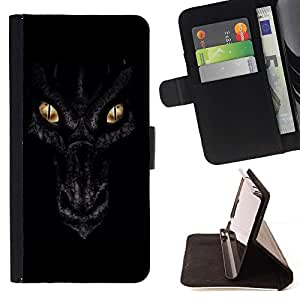 For Samsung ALPHA G850 Dragon Eyes Night Black Scales Gold Style PU Leather Case Wallet Flip Stand Flap Closure Cover