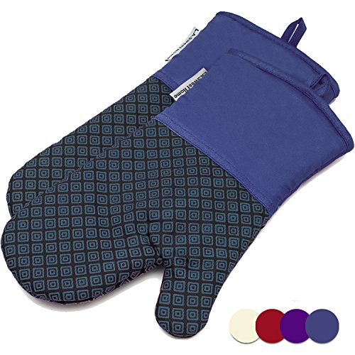LA Sweet Home Silicone Oven Mitts Greek Key Pattern Heat Resistant Potholders Cooking Gloves Non-Slip Barbecue Gloves, Pot Holders 1 Pair (Blue)
