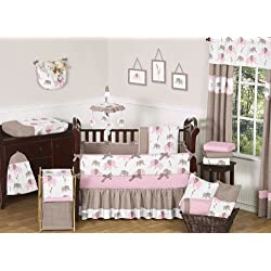 Sweet Jojo Designs Modern Pink and Brown Mod Elephant Baby Girl Bedding 9pc Crib Set