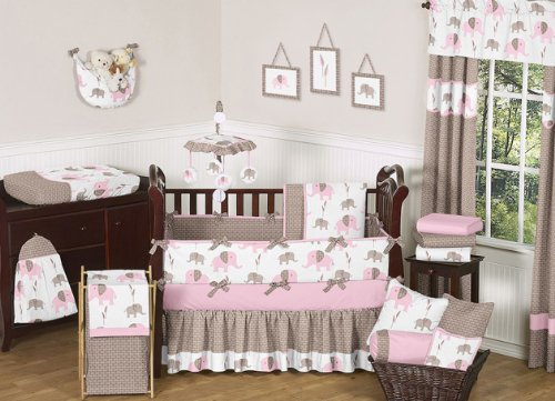 (Sweet Jojo Designs 9-Piece Modern Pink and Brown Mod Elephant Baby Girl Bedding Crib Set)