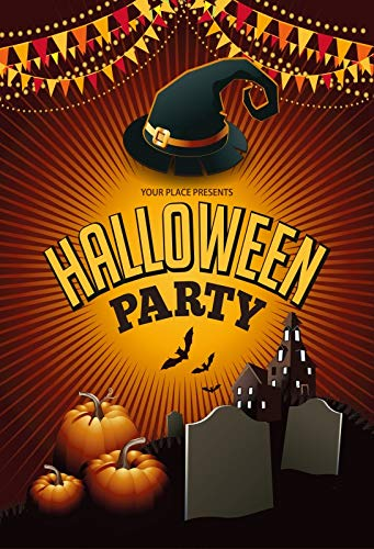Yeele 6x9ft Halloween Party Background for Photography Cemetery Headstone Magic Witch Hat Castle Pumpkin Bat Photo Backdrop Decoration Trick Or Treat Children Kids Adult Portrait Shoots Props