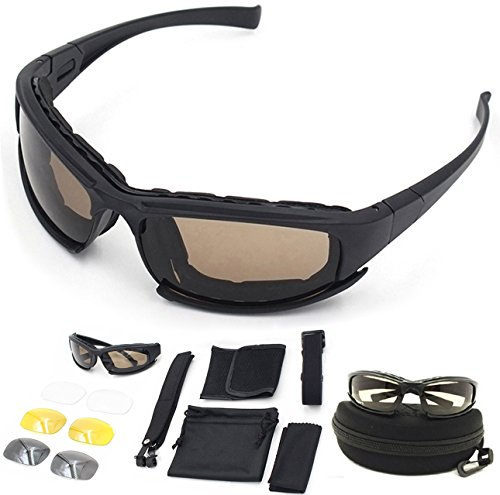 Polarized Army Sunglasses, Military Goggles 4 Lens Kit Tactical Goggles Blocking Glare ,UV Blocking Black