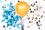 Fonder Mols 36'' Gold Gender Reveal Balloon Tassels Tail - Baby Sex Reveal Party Balloon Pop with Pink and Blue Tissue Paper Confetti