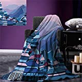 Great Wall of China Digital Printing Blanket Digital Dated Popular Monument with Futuristic Effects Graphic Art Summer Quilt Comforter 80''x60'' Navy Lavender