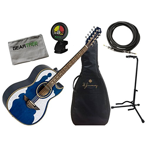 H Jimenez Bajo Quinto LBQ4ETB Trans Blue Acoustic Electric w/Gig Bag, Cloth, St