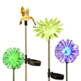 OrgMemory Solar Garden Stakes, Multi-color Changing Solar Stake Lights, 4 Pack Waterproof Landscape Lighting, Dandelion Hummingbird Sunflower Outdoor Decorative