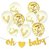 Too Cute Baby Shower Decorations Neutral Decor ''Oh Baby'' Strung Banner, 9PC Balloon Set (Gold, Confetti, White), Glitter Unisex Pregnancy Announcement Gender Reveal Party Milestone Moments