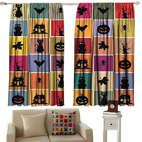 DUCKIL Bedroom Curtains 2 Panel Vintage Halloween Bats