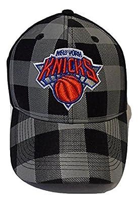 adidas NBA New York Knicks Adjustable Hat, Black and Gray Checkered
