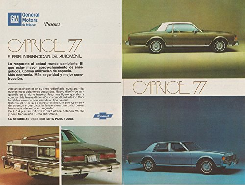 Amazon.com : 1977 CHEVROLET CAPRICE 2 y 4 Puertas, CONCOURS, CHEVY NOVA & NOVA MALIBU RALLY VINTAGE COLOR AD - MEXICO - SPANISH - AWESOME ORIGINAL!!