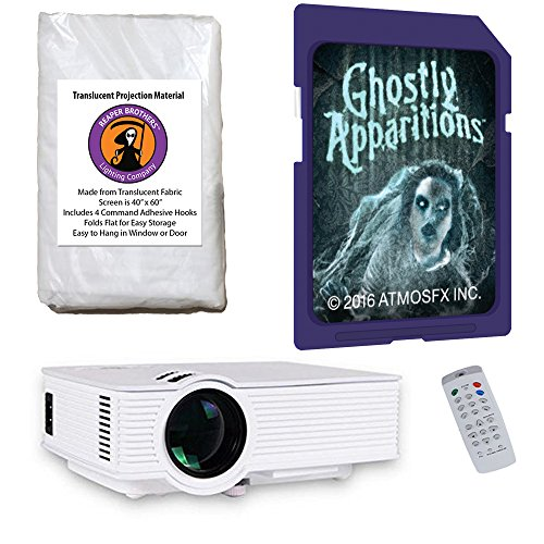 AtmosFearFx Ghostly Apparitions Halloween SD Projector Kit with 1900 Lumen LED Video Projector, Reaper Brothers High Resolution Window Rear Projection Screen and Ghostly Apparitions SD Card