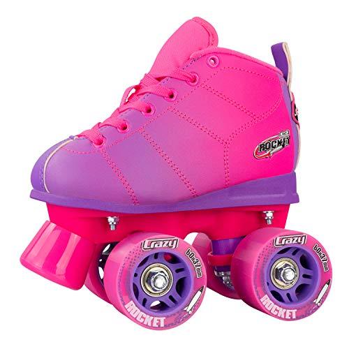 Crazy Skates Rocket Roller Skates for Girls and Boys | Great Beginner Kids Skates with Adjustable Motion | Pink and Purple Patines (Size Jr12)