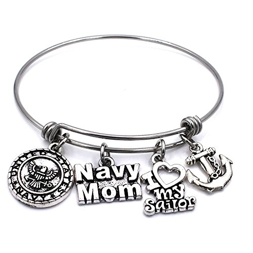 US United States Navy Mom Bracelet Expandable Wire Bangle I Love My Sailor Charm Birthday Jewelry Gifts for Women (United States Gifts)