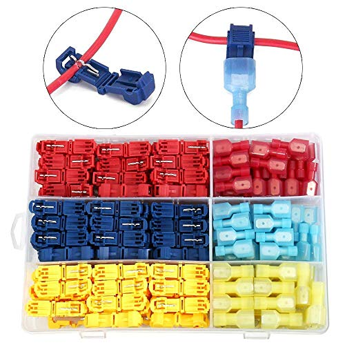 240 PCS T-Tap Wire Connectors,Wrightus Electrical Terminals Assortment - Heavy Duty Insulated Quick Wire Splice Taps and Insulated Male Quick Disconnect Kit