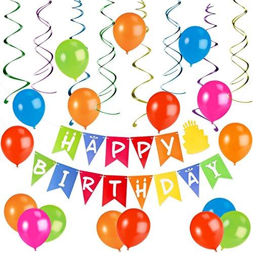 Happy Kit Birthday - Unomor Birthday Decorations with Happy Birthday Banner, 30pcs Balloons, 8pcs Hanging Swirls for Birthday Party Supplies