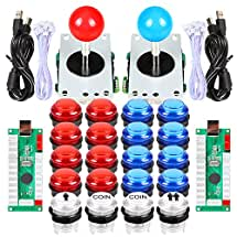 EG STARTS 2x Arcade DIY Kit Parts USB Controller To PC 8 Ways Stick Control + LED Light Illuminated Push Buttons For Arcade Joystick Games Mame Multicade Colors Red + Blue