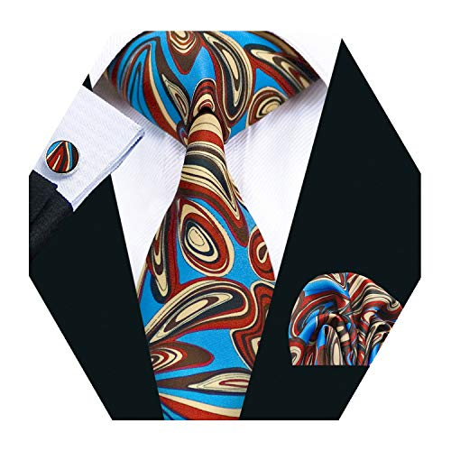 (Barry.Wang Men Silk Tie Set Designer Abstract Art Necktie Pocket Square)