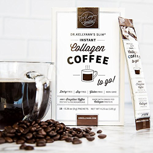 SLIM Collagen Coffee by Dr. Kellyann – 100% Organic Grass-Fed Collagen – Instant Brazilian Coffee Bean – On-The-Go Packets + A Convenient Daily Serving of Collagen. 5 Boxes, 15 Packets Per Box by Dr. Kellyann's SLIM (Image #1)