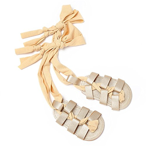 Isbasic Baby Boys Girls Gladiator Sandals Artificial Leather Rubber Sole Roman Lace up Shoes (14-20 Months, A-Gold)]()