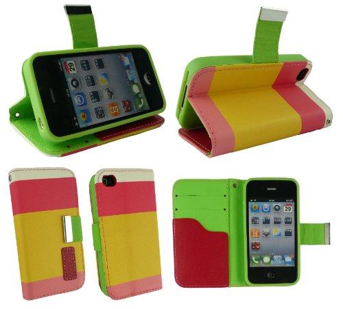 Emartbuy® Apple Iphone 4G / 4Gs / 4S Luxe Socle De Bureau Wallet Case / Couverture / Pochette Blocks Rose / Jaune / Blanc Avec Des Logements Pour Carte De Crédit