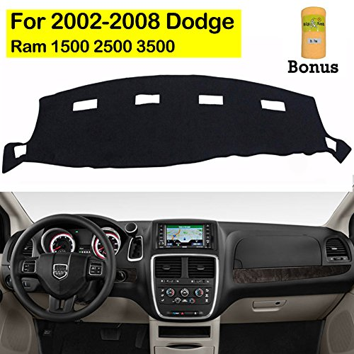 Dash Cover Dashboard (Big Ant Dashboard Cover for Dodge Ram 1500 2500 3500 2002-2008 Black Carpet Dash Cover Mat, Custom Fit Dashboard Protector, Easy Installation, Reduces Glare, Eliminates Cracking)