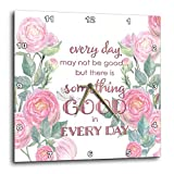 3dRose Uta Naumann Sayings and Typography - Watercolor Pink Roses and Bible Typography - Every Day May Not Be Good - 10x10 Wall Clock (dpp_289868_1)