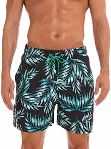7083ed97b144b Fensajomon Mens Active Quickly Drying Elastic Waist Summer Flamingo Floral Print  Beach Shorts Boardshort Swim Trunk
